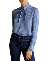 Ralph Lauren - Polo Ruffled Striped Silk Blouse - Lyst