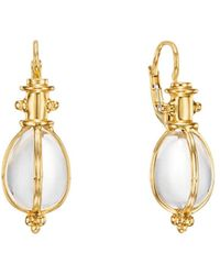 Temple St. Clair 18k Yellow Gold Oval Crystal Amulet Earrings - Metallic