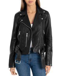 Bagatelle - Nyc Pebbled Leather Biker Jacket - Lyst