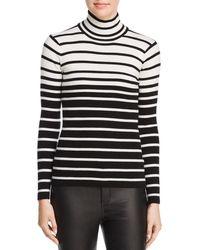 Minnie Rose - Striped Rib-knit Turtleneck Jumper - Lyst