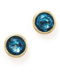 Marco Bicego - 18k Yellow Gold Jaipur London Blue Topaz Stud Earrings - Lyst