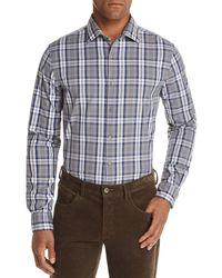 Bloomingdale's Tri - Color Plaid Classic Fit Shirt - Gray
