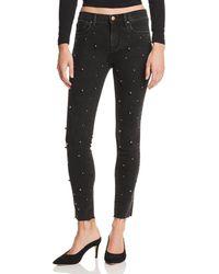 Aqua - Beaded Skinny Jeans In Black - Lyst