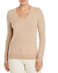 C By Bloomingdale's V - Neck Cashmere Sweater - Natural