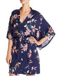 Josie Cosmo Floral Wrap Robe - Blue