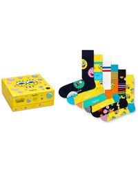 Happy Socks Spongebob Squarepants Cotton - Blend Crew Socks Gift Box - Yellow