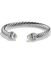 David Yurman - Crossover Bracelet With Diamonds And Prasiolite In Silver - Lyst