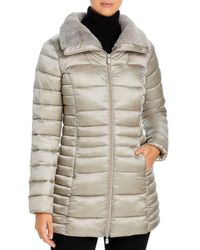 Save The Duck Iris Faux Fur Collar Puffer Coat - Gray
