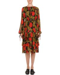 ba87480fb The Kooples Dotted Line Flowers On Silk Crepon Dress in Red - Lyst