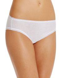 Fine Lines Pure Cotton High - Cut Briefs - White