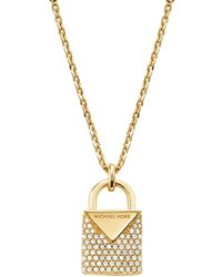 Michael Kors Kors Colour Pavé Sterling Silver Padlock Charm Necklace In 14k Gold - Plated Sterling Silver - Metallic