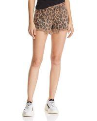Blank NYC - Distressed Leopard Print Denim Shorts In Animal - Lyst