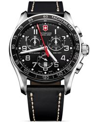 Victorinox Chrono Classic Xls Stainless Steel & Leather Chronograph Strap Watch - Black