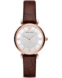 Armani Starry Night Leather Strap Watch - Brown