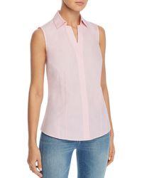 Foxcroft Taylor Sleeveless Non - Iron Cotton Shirt - Pink