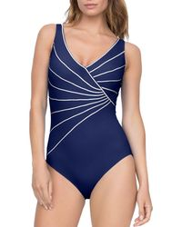 8ed5828995495 Gottex - Sinatra Piped Crossover V - Neck One Piece Swimsuit - Lyst