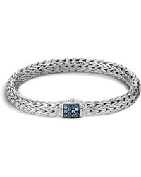 John Hardy - Classic Chain Sterling Silver Lava Medium Bracelet With Blue Sapphires - Lyst