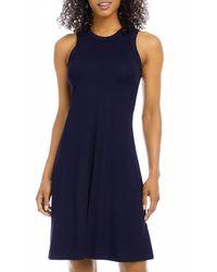 Karen Kane High Neck A Line Dress - Blue
