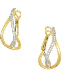 Frederic Sage - 18k Yellow Gold Small Diamond Crossover Hoop Earrings - Lyst