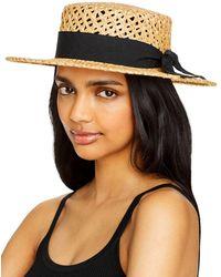 Aqua Open Weave Straw Boater Hat - Black