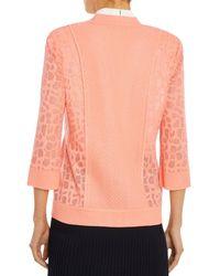 Misook Animal Pattern Burnout Knit Jacket - Pink