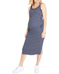 Ingrid & Isabel Ribbed Tank Midi Maternity Dress - Blue