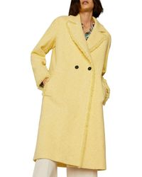 Marella Nicchia Frayed Trim Bouclé Coat - Yellow