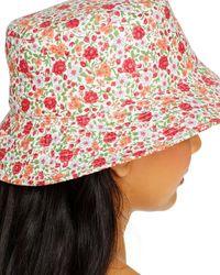 Aqua Floral Print Bucket Hat - Red