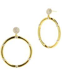 Freida Rothman Radiance Hoop Drop Earrings In 14k Gold - Plated & Rhodium - Plated Sterling Silver - Metallic