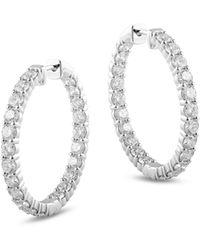 Bloomingdale's Diamond Inside Out Hoop Earrings In 14k White Gold