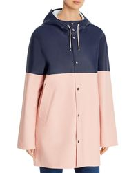Stutterheim Stockholm Colour - Blocked Raincoat - Blue