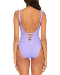 Becca Fine Line Cutout One Piece Swimsuit - Purple
