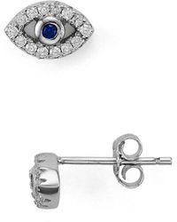 Aqua Evil Eye Stud Earrings - Metallic