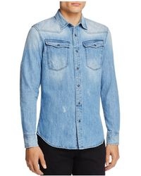 G-Star RAW - Spattered And Faded Denim Regular Fit Snap-front Shirt - Lyst