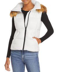 Aqua Faux Fur Trim Hooded Puffer Vest - White