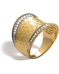 John Hardy - Palu 18k Gold & Diamond Pavé Small Saddle Ring - Lyst