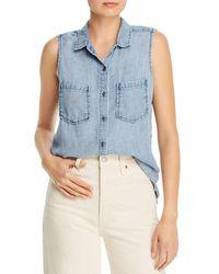 Billy T Sleeveless Ruffled Button - Down Shirt - Blue
