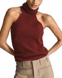 Reiss Clem Turtleneck Sleeveless Sweater - Red