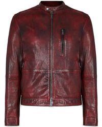 John Varvatos Reyes Sheepskin Slim Fit Racer Jacket - Multicolour