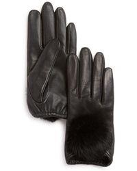 Aqua - Rabbit Fur Pom-pom Leather Tech Gloves - Lyst