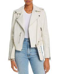 Aqua Kelsey Leather Moto Jacket - White
