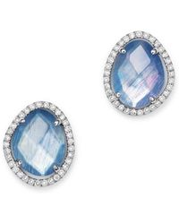 Meira T - 14k White Gold Sapphire And Moonstone Doublet Stud Earrings With Diamonds - Lyst