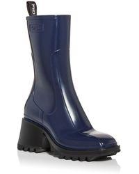 Chloé Women's Betty Block Heel Platform Rain Boots - Blue