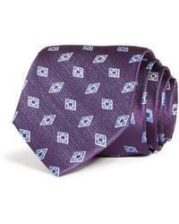 Bloomingdale's Diamond Neat Woven Silk Classic Tie - Purple