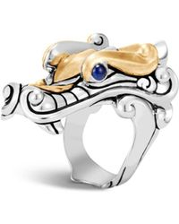 John Hardy - Sterling Silver & 18k Yellow Gold Legends Naga With Blue Sapphire Eyes Ring - Lyst
