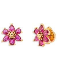 Kate Spade First Bloom Cubic Zirconia Flower Stud Earrings In 14k Gold Plate - Pink