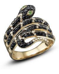 Bloomingdale's Black And White Diamond Snake Ring With Tsavorite In 14k Yellow Gold - Metallic