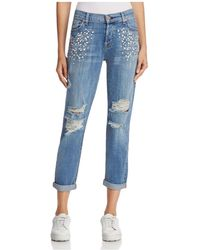 7 For All Mankind - Josefina Embellished Boyfriend Jeans In Vintage Wythe With Studs - Lyst