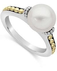 Lagos Sterling Silver & 18k Yellow Gold Luna Cultured Freshwater Pearl Ring - Metallic