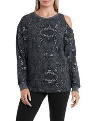 Vince Camuto Printed Cold Shoulder Sweatshirt - Black